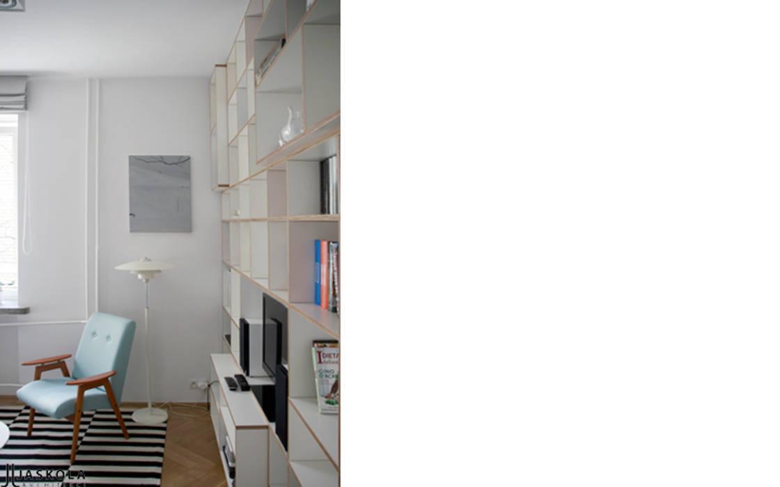 pojemny regał ze sklejki  Intterno: styl , w kategorii Salon zaprojektowany przez JJJASKOLA ARCHITEKCI