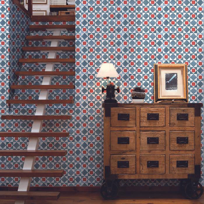 Tiles 'Digitally Printed' Wallpaper Collection de Paper Moon Rústico