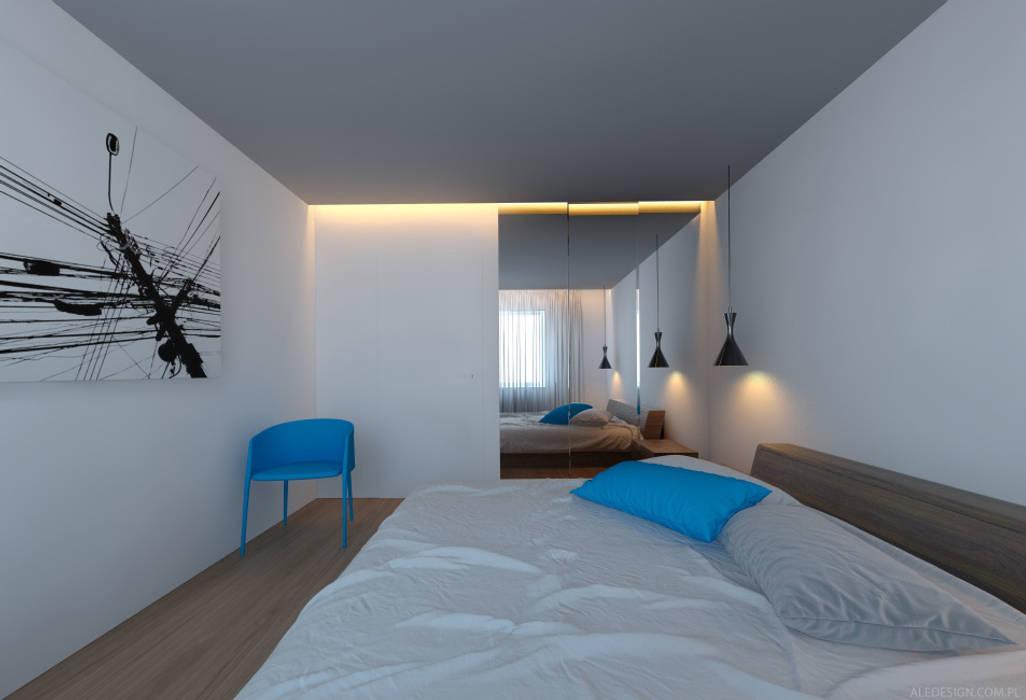 Sypialnia w błękicie Minimalistyczna sypialnia od Ale design Grzegorz Grzywacz Minimalistyczny