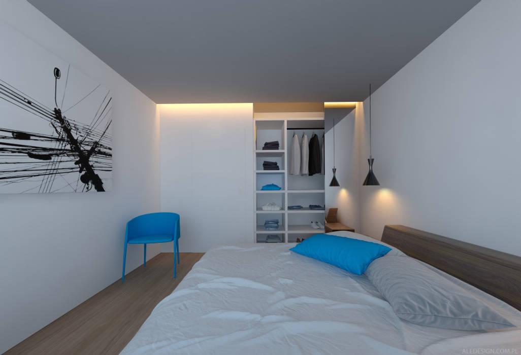 Sypialnia w błękicie : styl , w kategorii Sypialnia zaprojektowany przez Ale design Grzegorz Grzywacz,