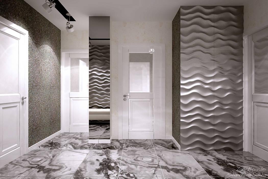 Студия интерьерного дизайна happy.design ห้องโถงทางเดินและบันไดสมัยใหม่