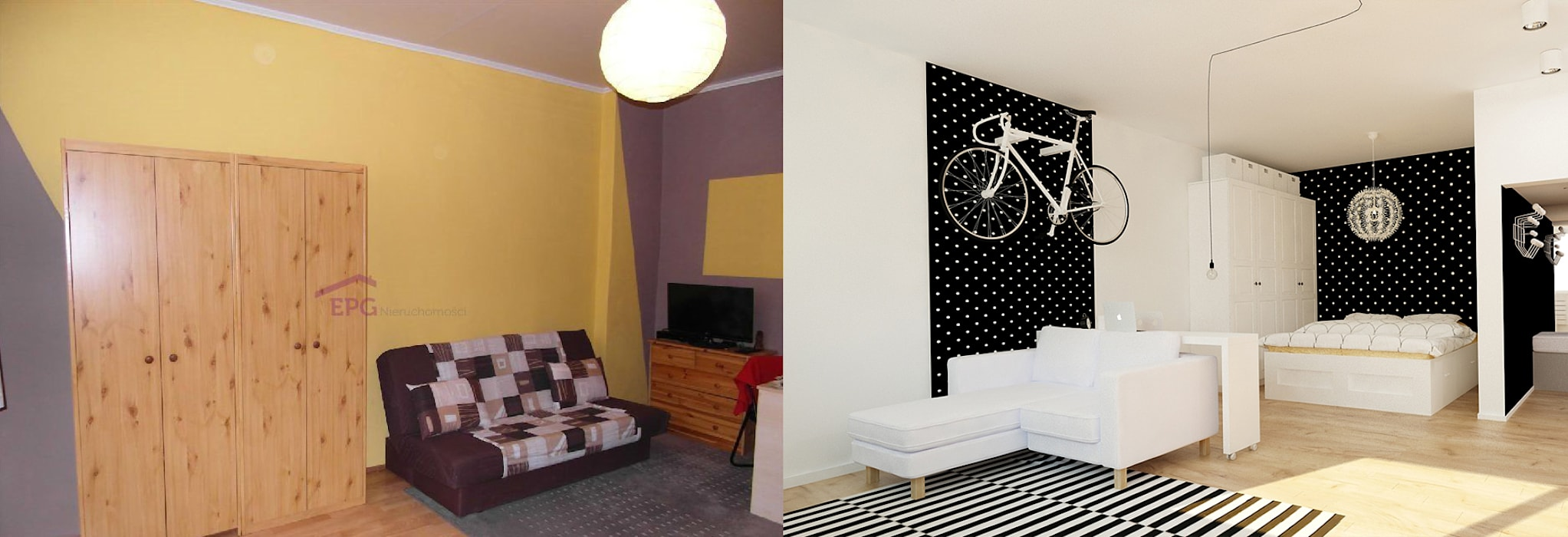 Kawalerka 24m2 w Katowicach do wynajęcia - wersja czarno-biała: styl , w kategorii Salon zaprojektowany przez Ale design Grzegorz Grzywacz