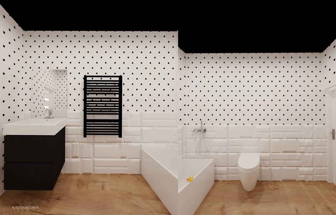 Łazienka w kropki - 3 wersje: styl , w kategorii Łazienka zaprojektowany przez Ale design Grzegorz Grzywacz