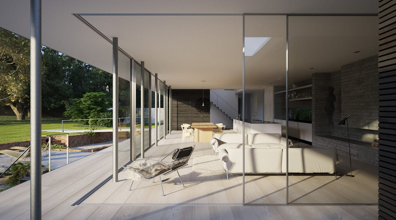 Strom Architects의  거실, 북유럽