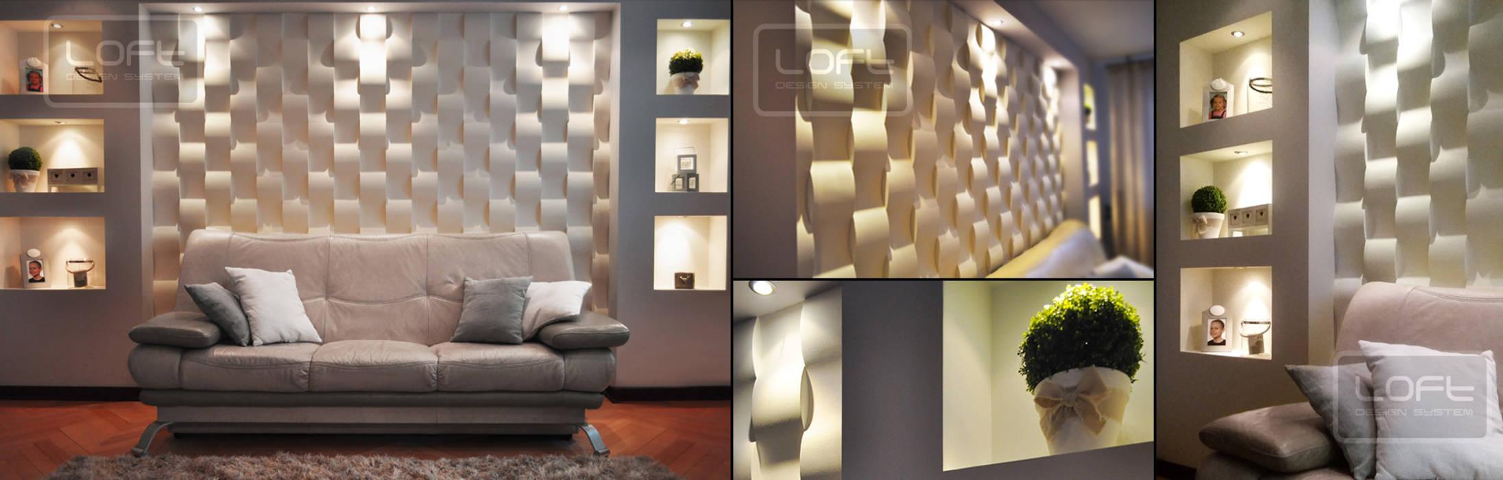 3d- wandpaneele in wellenform : wohnzimmer von loft design system ...