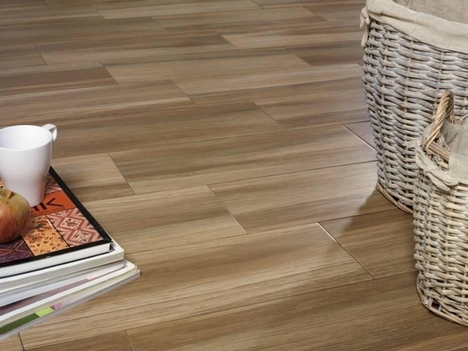 Saigón Gres imitación a madera: Paredes de estilo  de INTERAZULEJO