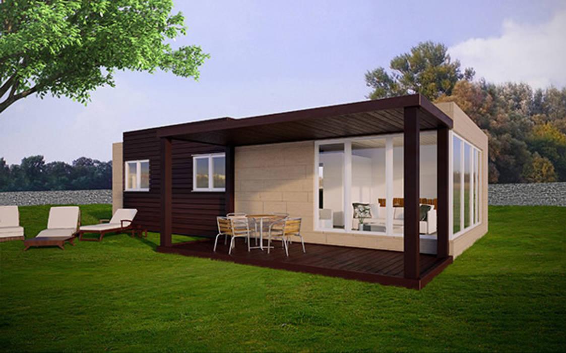 Vista trasera de la Cube de 75 m2 Casas Cube Casas de estilo moderno