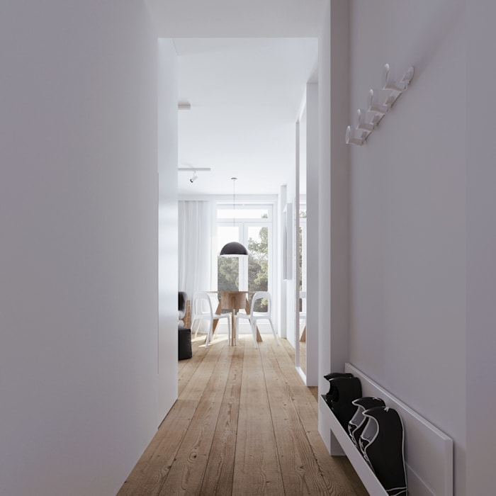 Scandinavian style corridor, hallway& stairs by 081 architekci Scandinavian