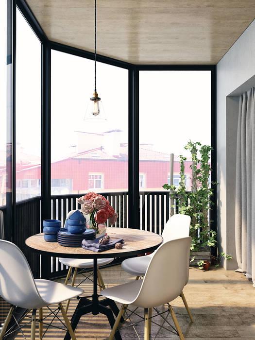 Industrial style balcony, veranda & terrace by HOMEFORM Студия интерьеров Industrial