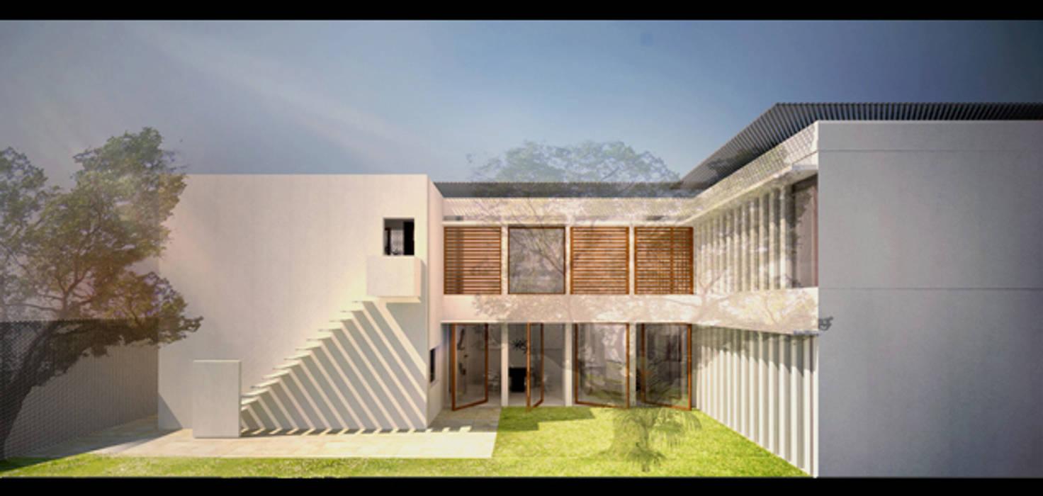Vue patio entrée: Maisons de style de style Moderne par Interlude Architecture