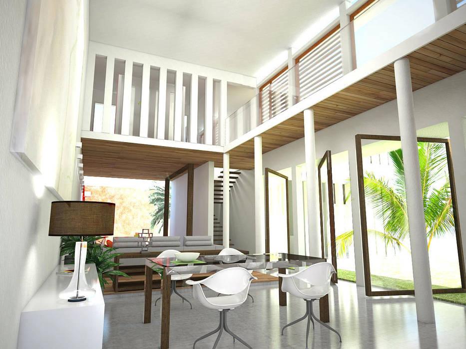 vue de l'espace commun: Salle à manger de style de style Moderne par Interlude Architecture