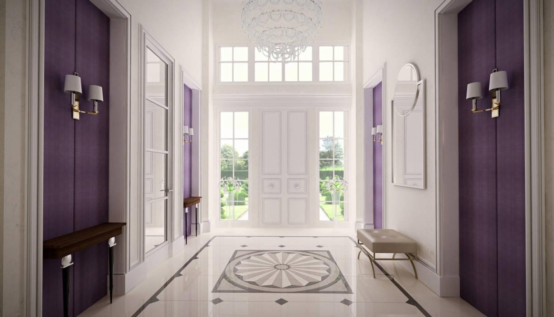 Проект загородного дома Коридор, прихожая и лестница в классическом стиле от Roberts Design Классический