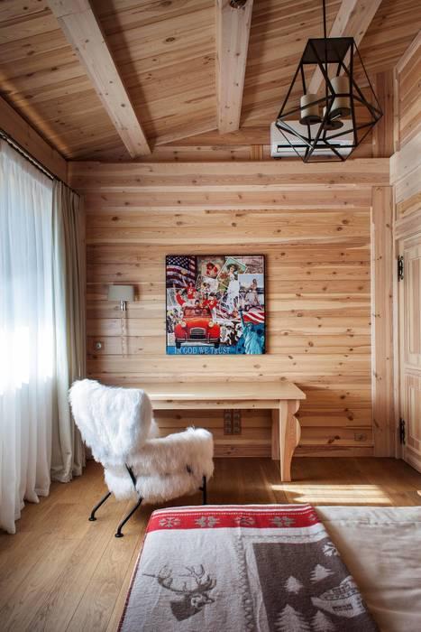 Шале. Загородный дом. Москва Спальня в рустикальном стиле от Архитектор Татьяна Стащук Рустикальный