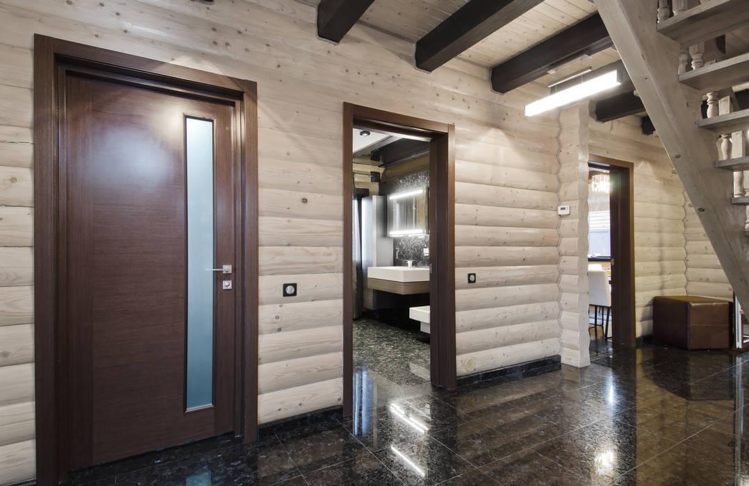 Samarina projects Rustic style corridor, hallway & stairs