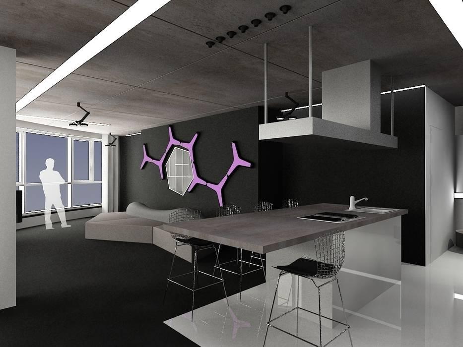 Кухня с видом на гостиную (DZ)M Интеллектуальный Дизайн Кухня в стиле минимализм