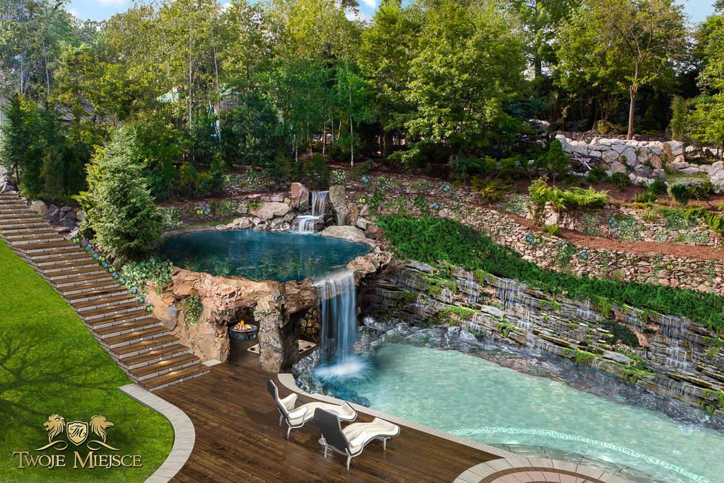 Taras połączony z grotą skalną i basenem: styl , w kategorii Ogród zaprojektowany przez Twoje Miejsce
