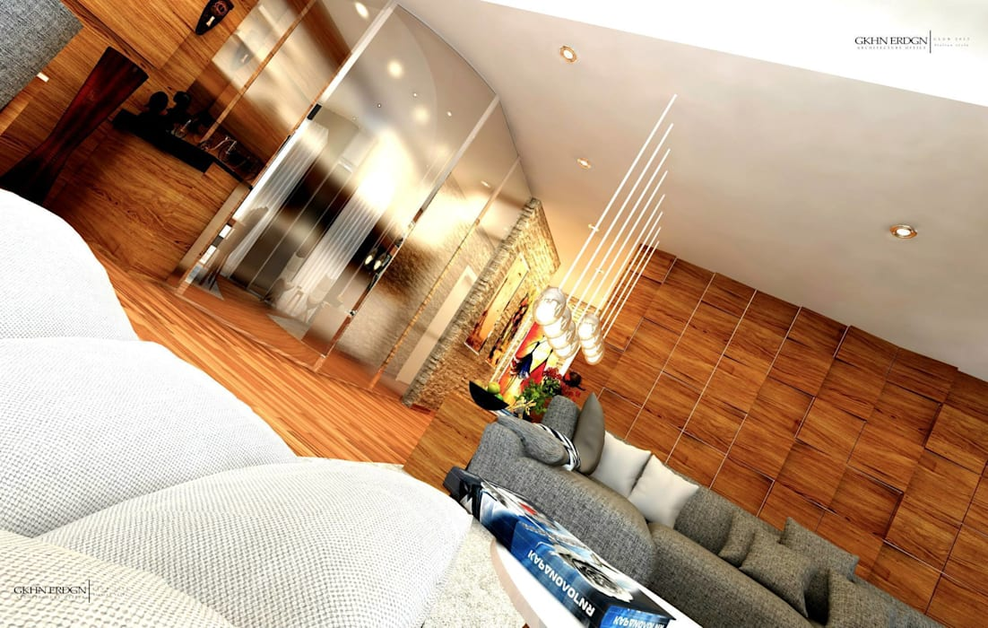GN İÇ MİMARLIK OFİSİ – Salon ve Mutfak:  tarz Oturma Odası