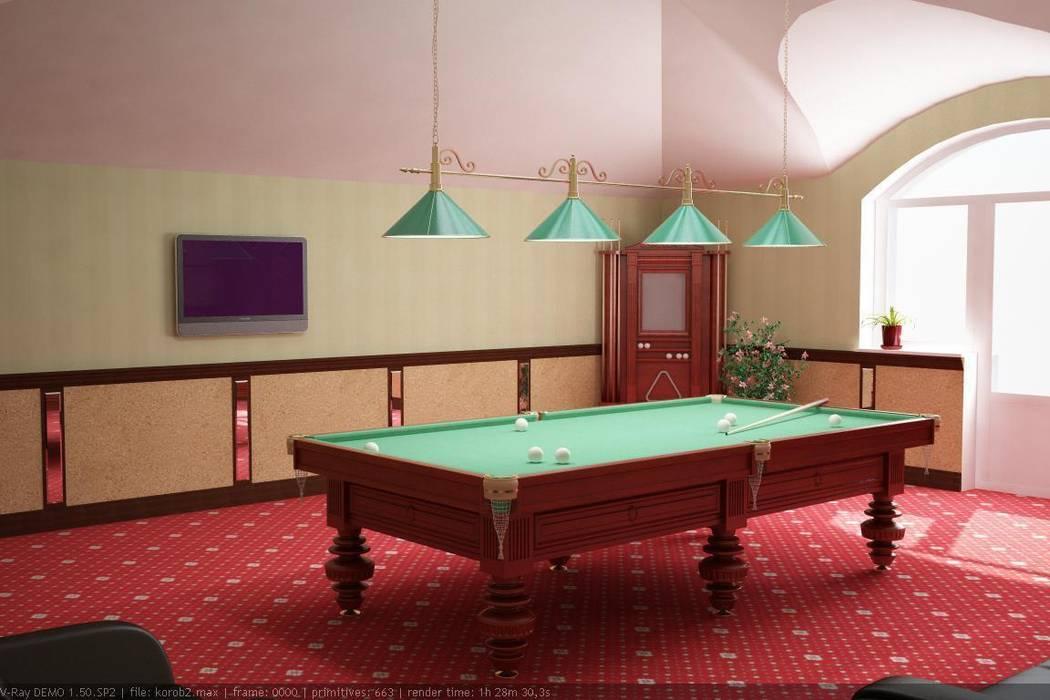 Бильярдная на мансардном этаже Тренажерный зал в классическом стиле от Цунёв_Дизайн. Студия интерьерных решений. Классический