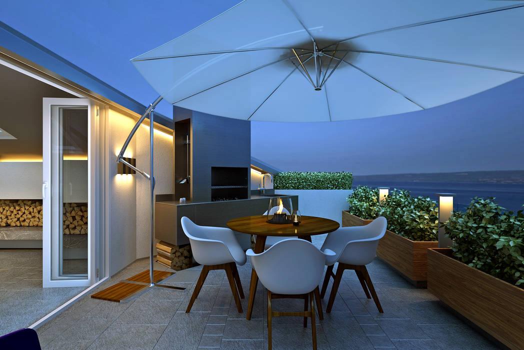 Терраса с зоной BBQ Балкон и веранда в стиле лофт от lab21studio Лофт