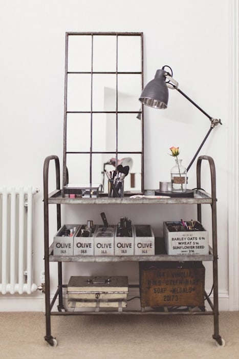 Reclaimed Industrial Metal Window Mirror: industrial Dressing room by Sugden and Daughters