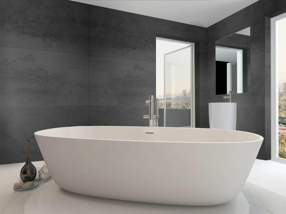 Beton architektoniczny w łazience - antracyt: styl , w kategorii Łazienka zaprojektowany przez Luxum