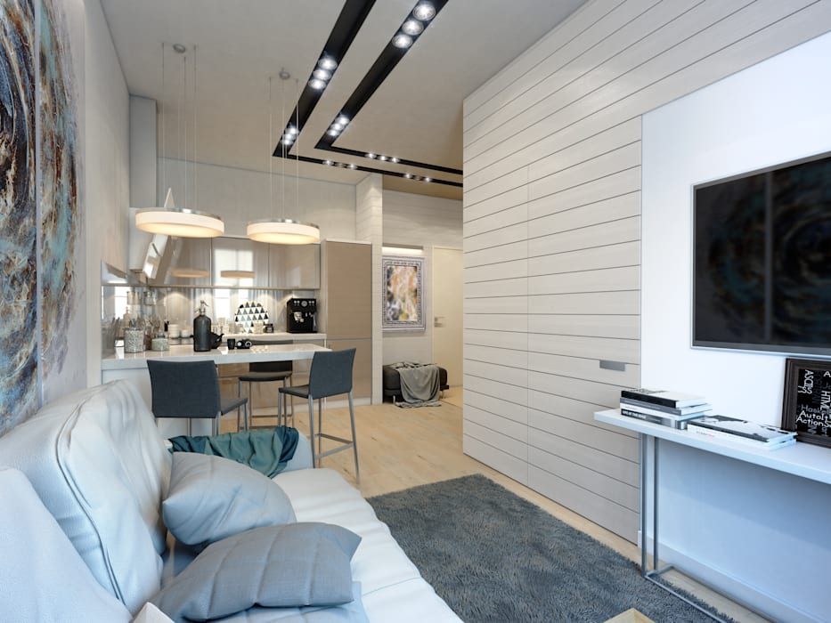 apartment of 35 sq.m. Industrial style living room by Entalcev Konstantin Industrial
