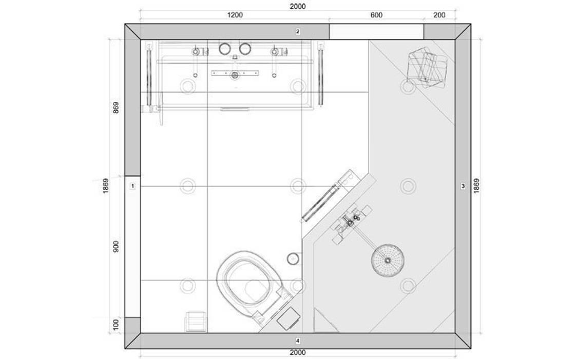 Plattegrond kleine badkamer met inloopdouche van 200x 185cm: moderne ...