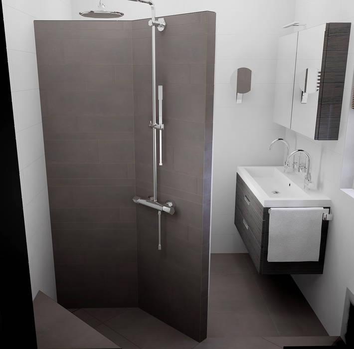 inloopdouche met betegelde douchewand :  Badkamer door Sani-bouw