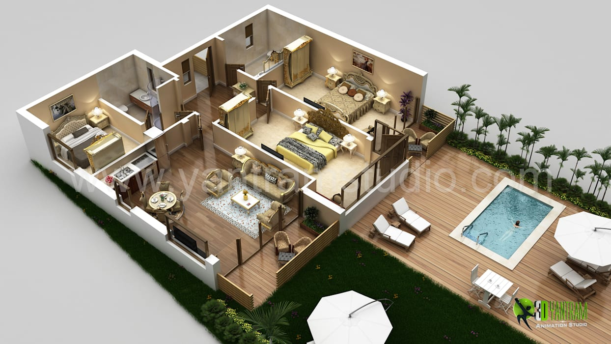 3D Laxurious Residential Floor Plan by Yantram Architectural Design Studio