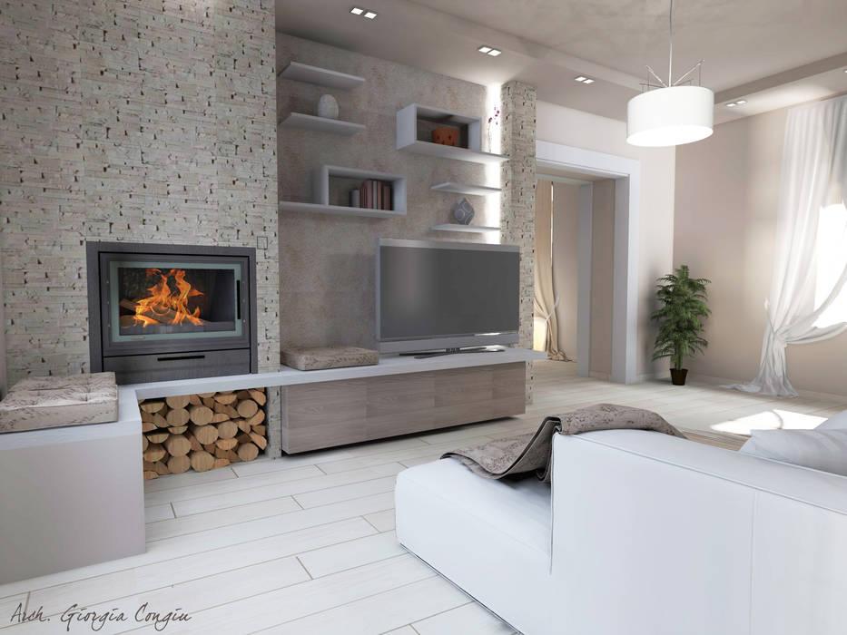 Progetto arredamento di interni soggiorno in stile di for Progetto soggiorno