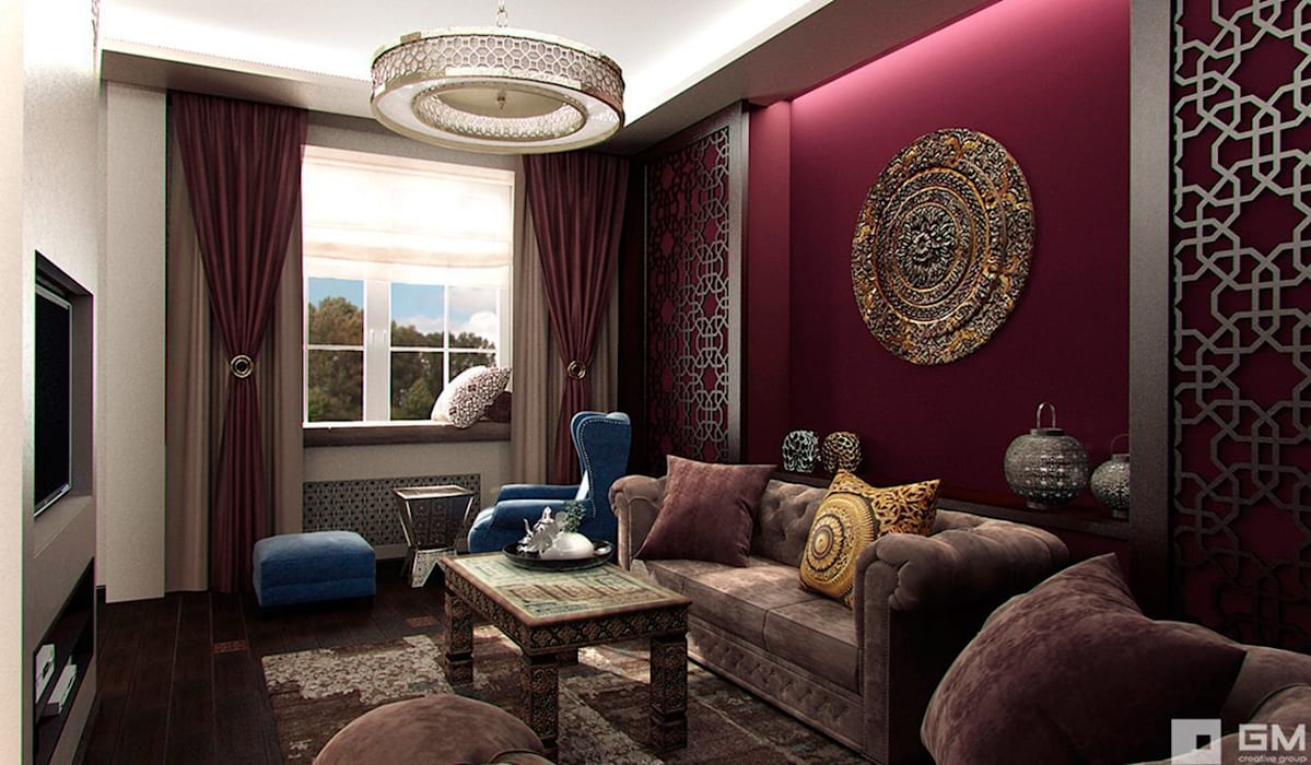 Интерьер дома в восточном стиле Гостиные в эклектичном стиле от GM-interior Эклектичный