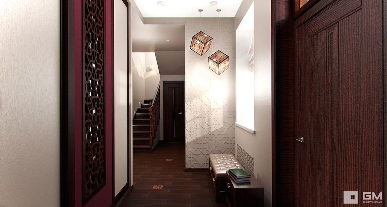 GM-interior Eclectic style corridor, hallway & stairs