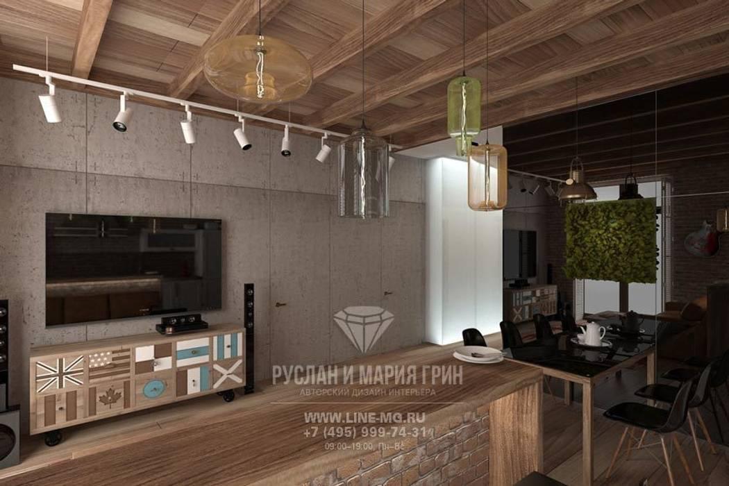 Дизайн гостиной в стиле лофт Студия дизайна интерьера Руслана и Марии Грин Гостиная в стиле лофт