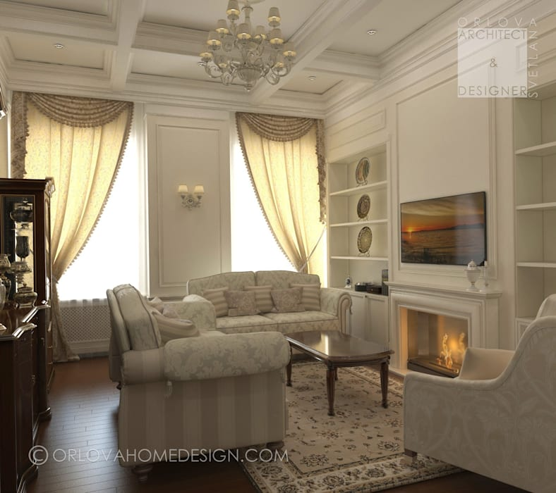 Квартира в Санкт-Петербурге: Гостиная в . Автор – Orlova Home Design, Классический