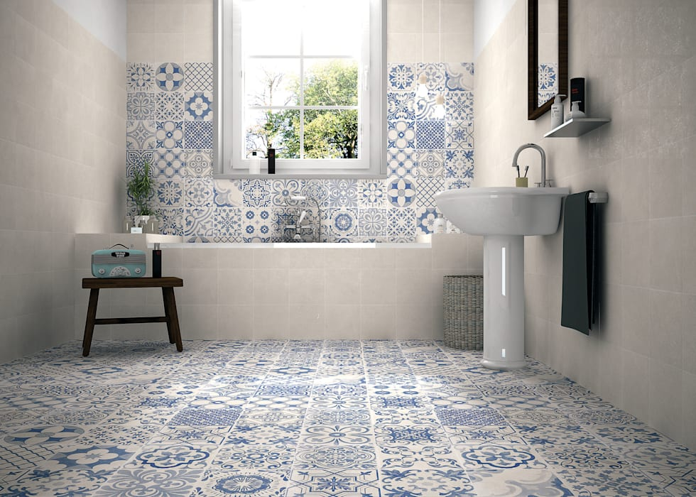 Elle:  Bathroom by The Baked Tile Company , Country
