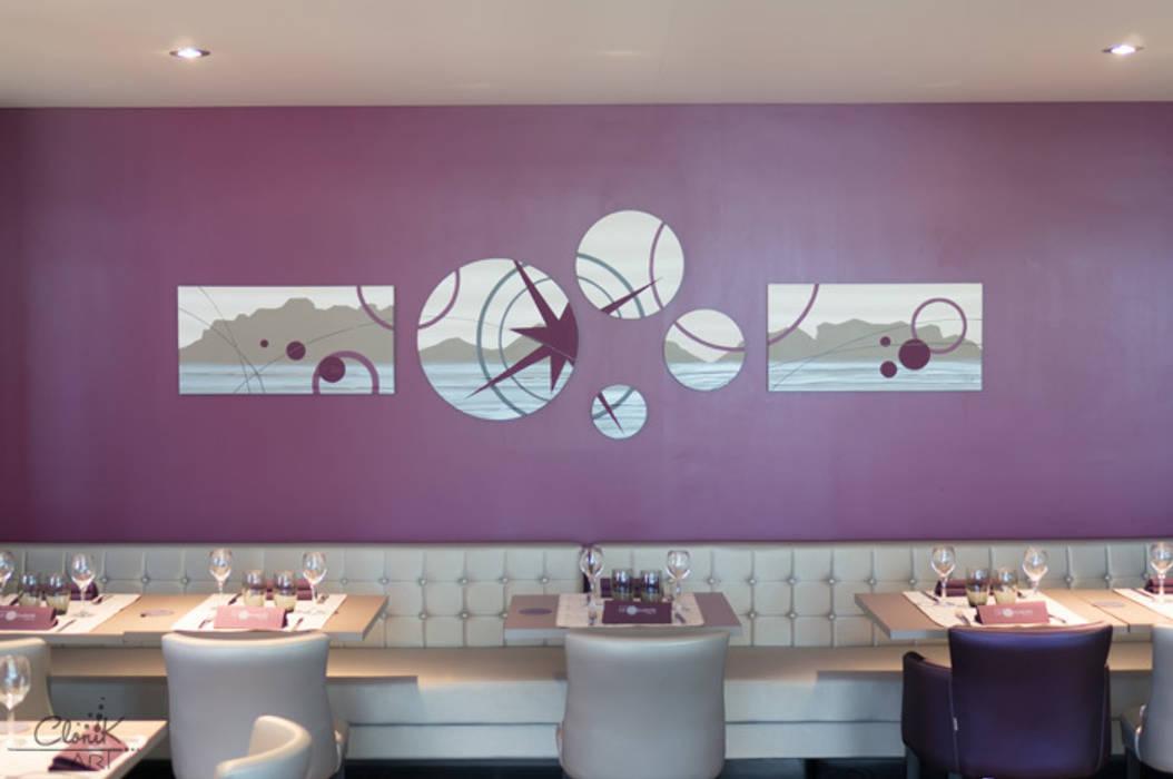Oeuvre d'art sur-mesure hôtel-restaurant N°109-110: Restaurants de style  par Clonik Art