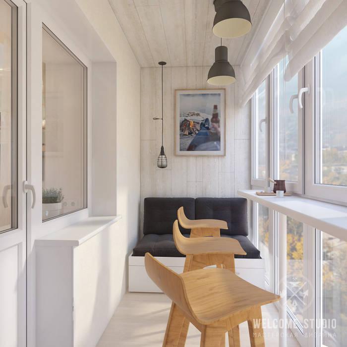 Мастерская дизайна Welcome Studio Scandinavian style balcony, porch & terrace