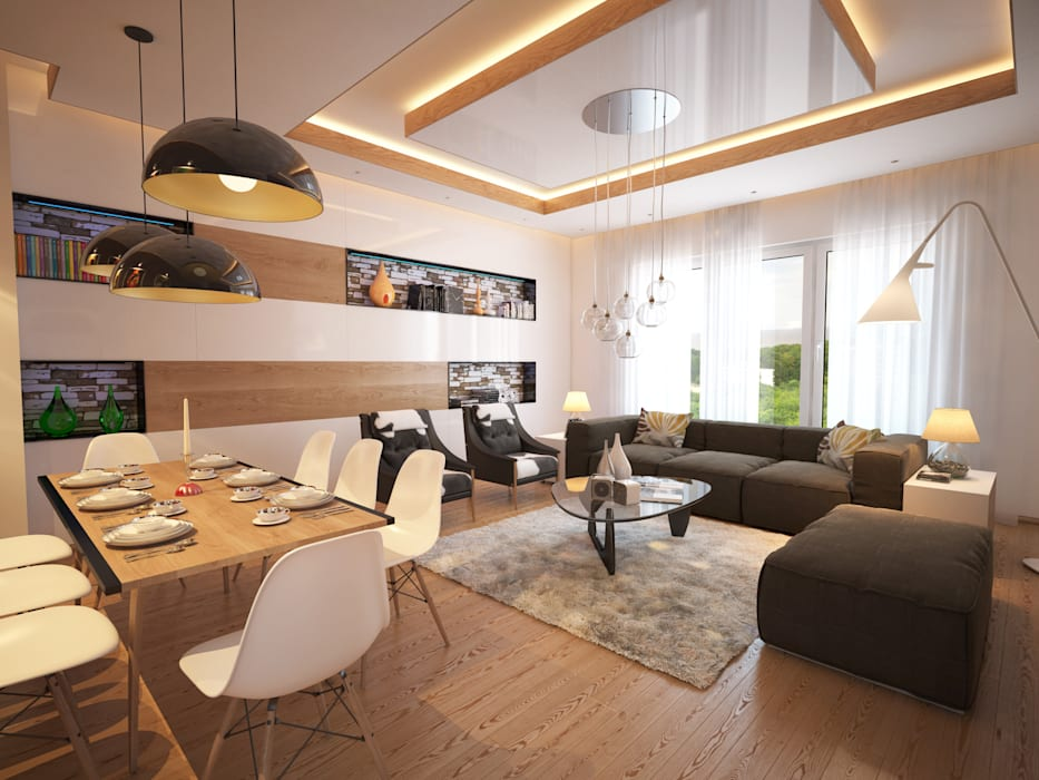 Salon moderne par İNDEKSA Mimarlık İç Mimarlık İnşaat Taahüt Ltd.Şti. Moderne