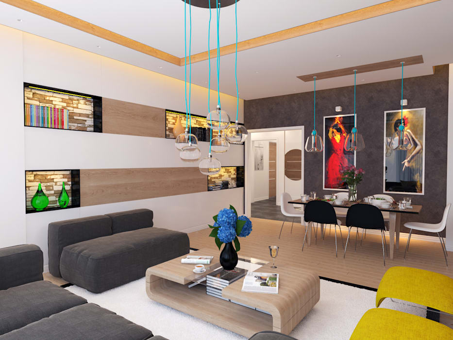 Salas de estilo moderno de İNDEKSA Mimarlık İç Mimarlık İnşaat Taahüt Ltd.Şti. Moderno
