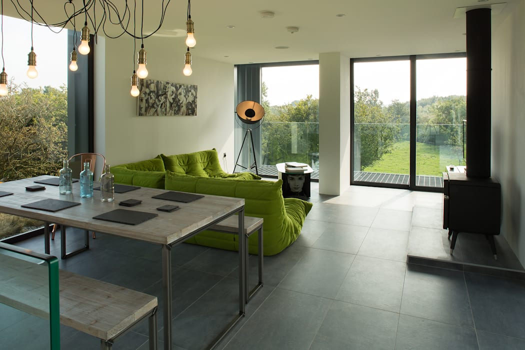 Grillagh Water:  Living room by Patrick Bradley Architects