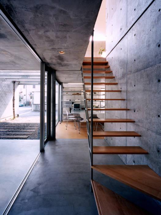 コートハウスの階段室 ミニマルスタイルの 玄関&廊下&階段 の 土居建築工房 ミニマル