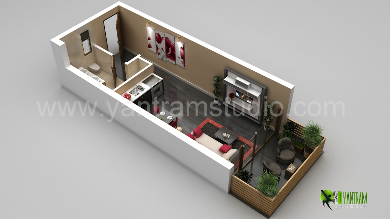 3D Small Home Floor Plan Rendering by Yantram Architectural Design Studio