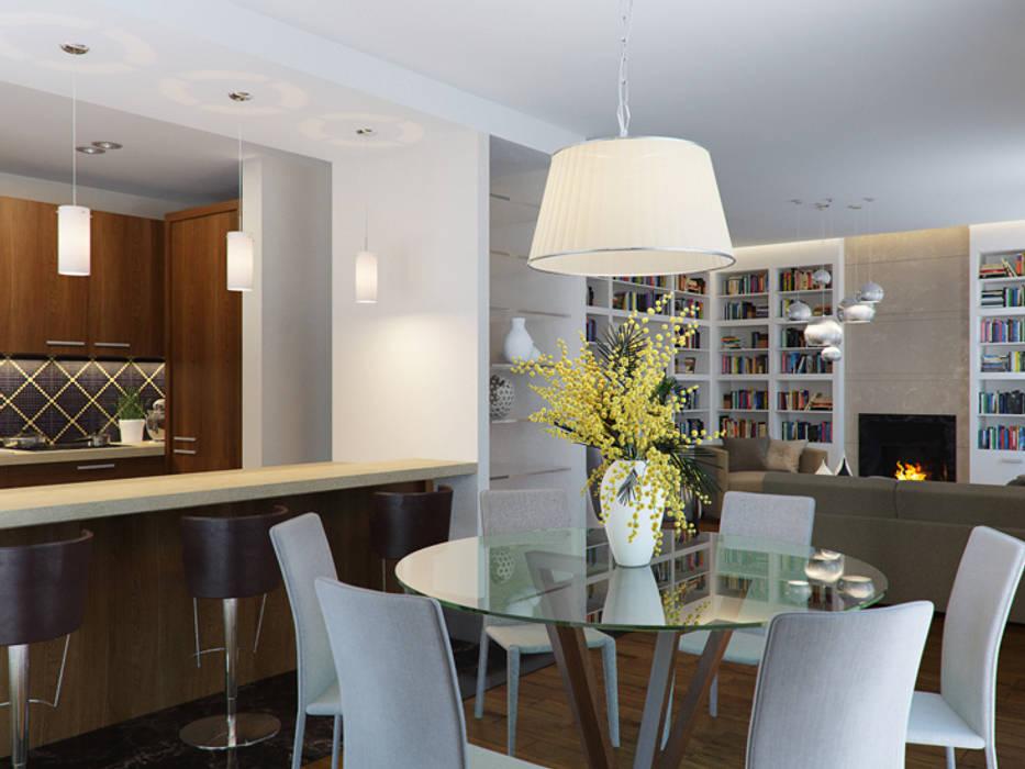 Белая гостиная с черной кухней Гостиная в стиле минимализм от K-Group Минимализм