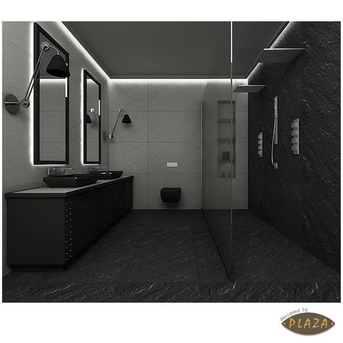 Plaza Yapı Malzemeleri – Doğaltaş Görünümlü seramikler:  tarz Banyo