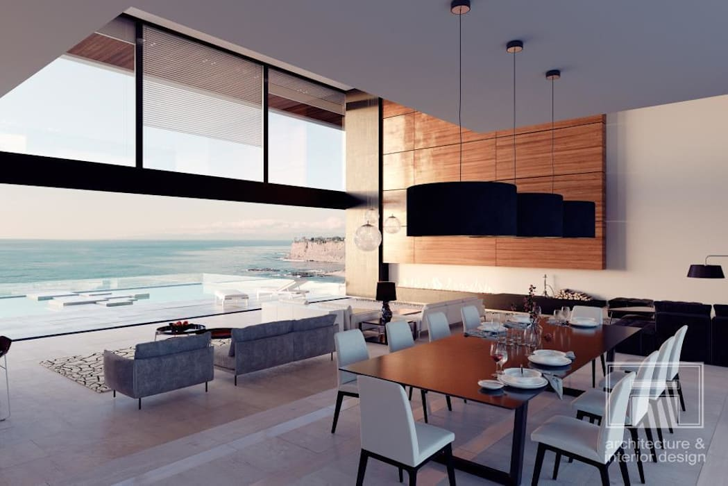 Море Вокруг. Архитектурное решение + Интерьер дома (1000м2): Столовые комнаты в . Автор –  i-project
