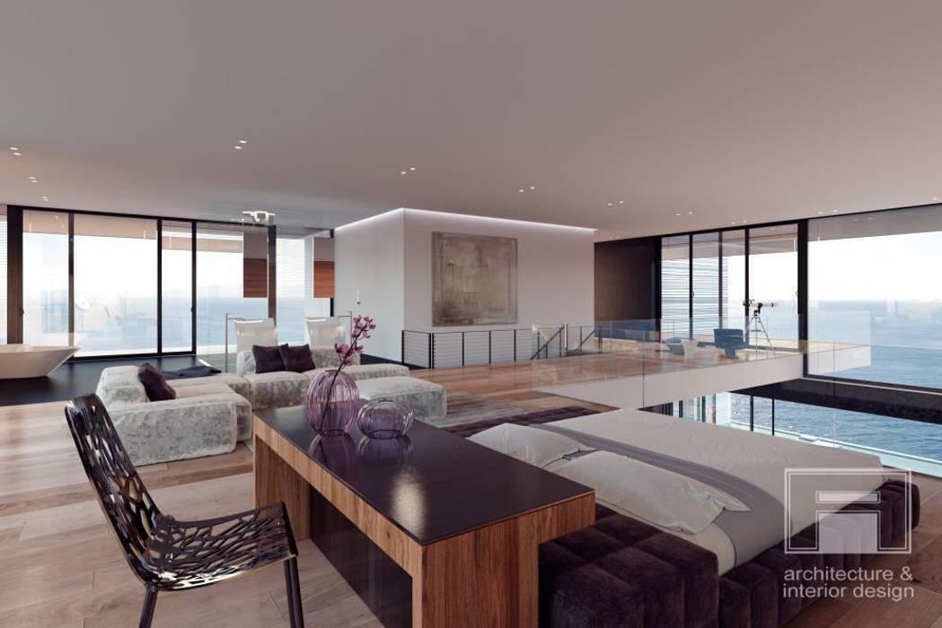 Море Вокруг. Архитектурное решение + Интерьер дома (1000м2): Спальни в . Автор –  i-project, Минимализм