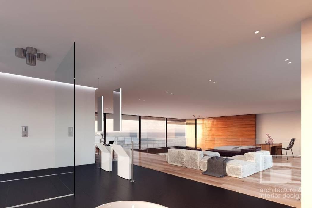 Море Вокруг. Архитектурное решение + Интерьер дома (1000м2) Ванная комната в стиле минимализм от i-project Минимализм
