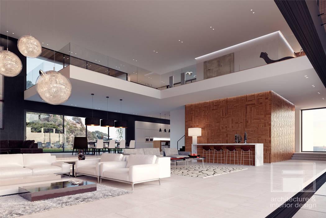 Море Вокруг. Архитектурное решение + Интерьер дома (1000м2): Гостиная в . Автор –  i-project, Минимализм