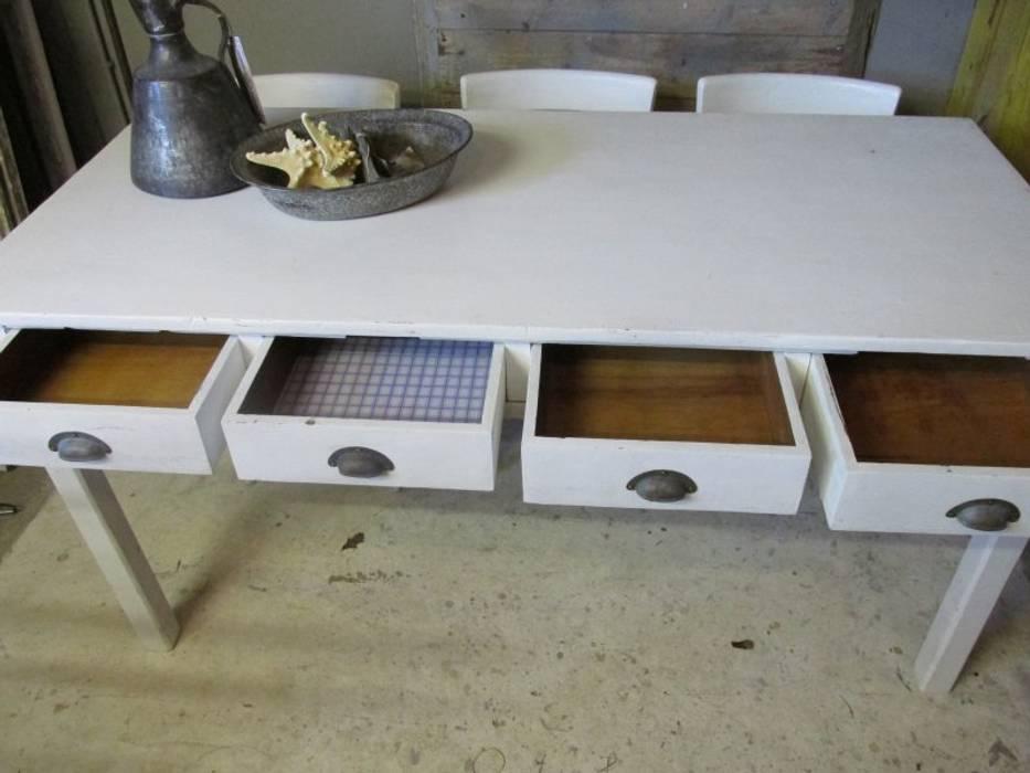 Brocante Witte Eetkamertafel.Smalle Brocante Witte Tafel Met 4 Lades Eetkamer Door Were Home