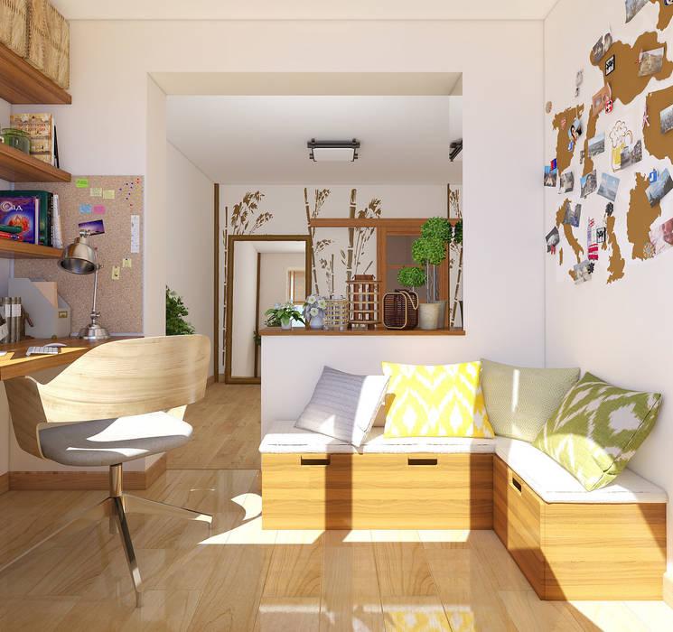 Экоквартира в Тропарево Рабочий кабинет в стиле минимализм от «Студия 3.14» Минимализм